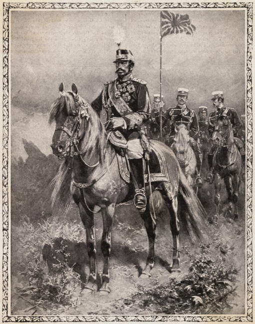 Japanese painting - Painting of Meiji Emperor in military regalia