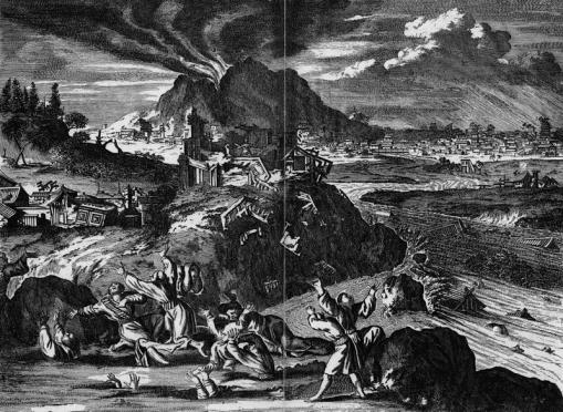 Illustration depicting the massive destruction that struck Tokyo during the Great Earthquake of 1650.